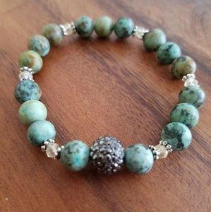 Turquoise Jasper & Crystal Bead Bracelet